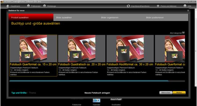 KODAK Create@Home Software Fotobuch auswählen
