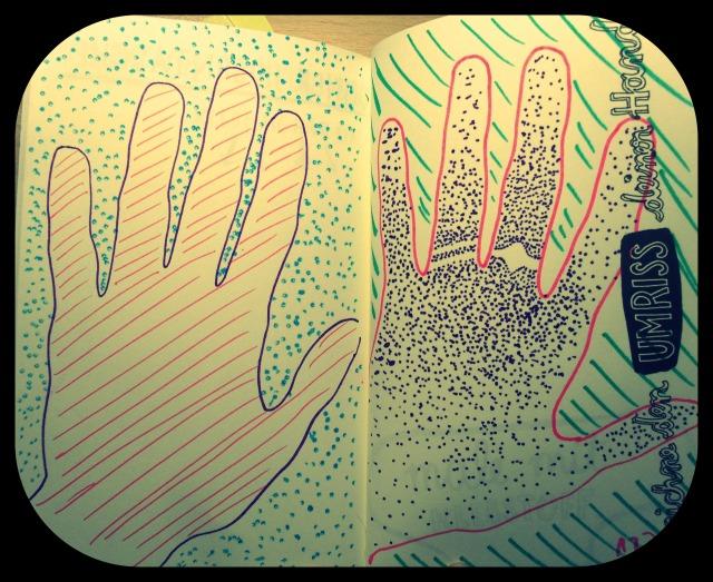 Zeichne den Umriss deiner Hand.