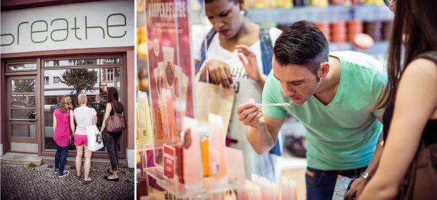 Links: Storecheck von außen, denn der Laden hatte leider zu. Rechts: Schnuppern beim Duft-Check. Fotos: Johannes Dreuw