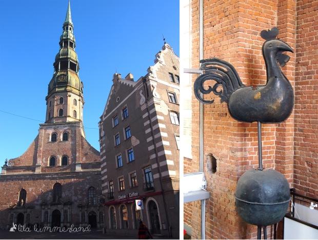 Links: Der Eingang zur Petrikirche in Riga. Rechts: Der alte Wetterhahn der Petrikirche, heute ein Ausstellungsstück