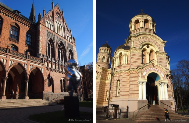 links: Das Nationalmuseum in Riga | rechts: die russisch-orthodoxe Geburtskathedrale in Riga