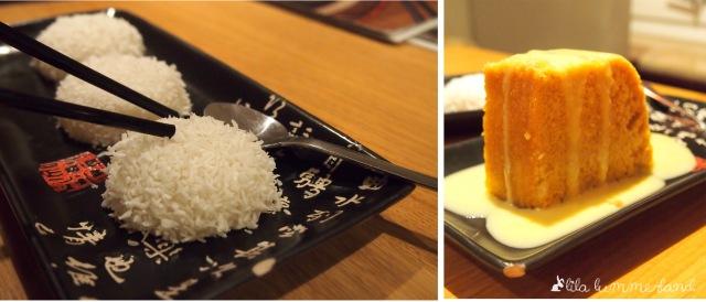 links: Klebreiskuchen mit Vanille | rechts: chinesischer Eierdampfkuchen mit Vanillesauce