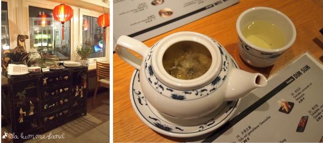 links: Einrichtung | rechts: Chrysanthemen-Tee mit Blüten