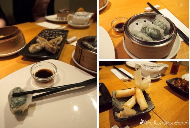 links: zu den gedämpften Teigtaschen gibt es einen dunklen Essig zum Dippen | rechts oben: gedämpfte Reisteigtaschen mit Spinat | rechts unten: Garnelen ummantelt mit Reispapier