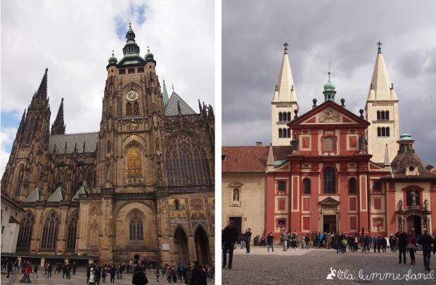 Links: St.-Veits-Dom, Rechts: St.-Georgs-Basilika