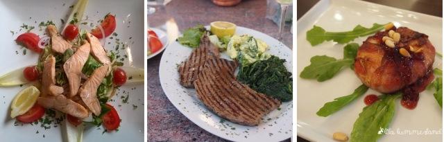 Auswärts Low Carb essen: Salat mit Lachs, Steak an Gemüse, Zeigenkäse mit Bacon