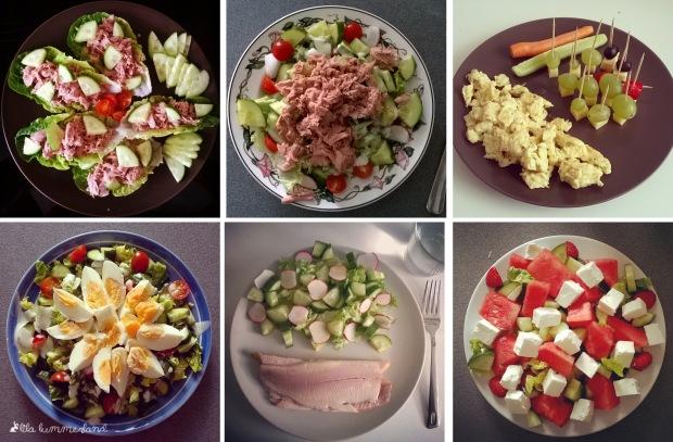 Low Carb Lunch: Salat mit Thunfisch, Forelle, Ei oder Feta, gerne auch Rührei