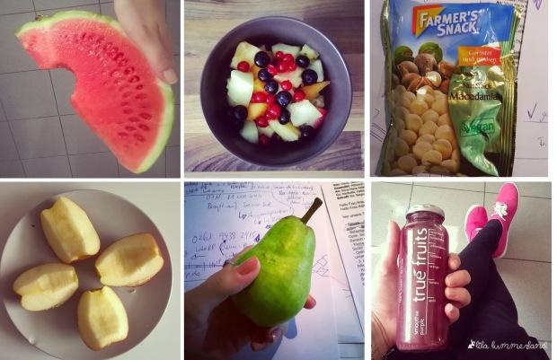 Der Nachmittagssnack: Obst, Smoothie, Nüsse