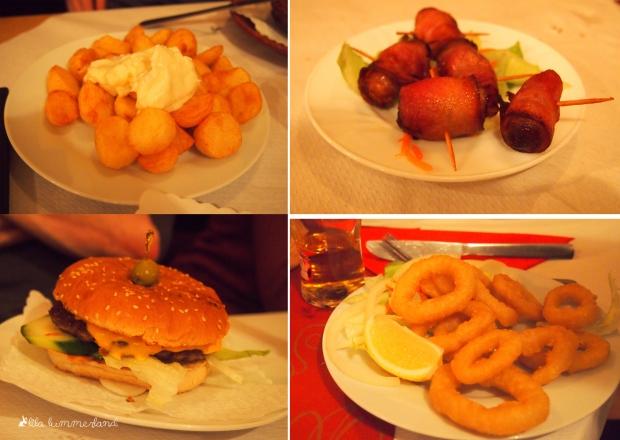 Tapas: Kartoffelbällchen, Datteln in Speck, Cheeseburger, Tintenfischringe