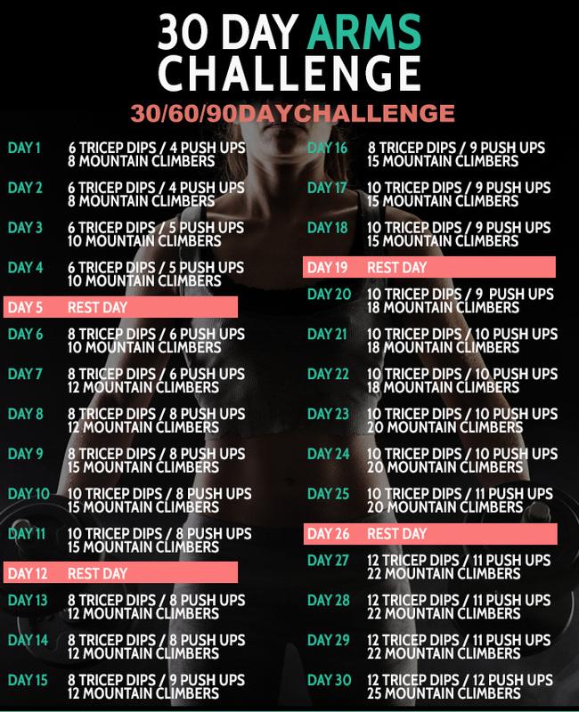 30 day fitness challenges arm challenge lila lummerland. Black Bedroom Furniture Sets. Home Design Ideas
